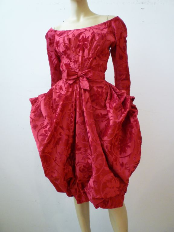 Ginger Rogers Couture 50s Silk Taffeta And Velvet Cocktail