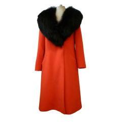 Pauline Trigere Siren Red Wool 60s Wool Coat w/ Plush Black Fox