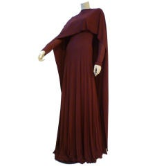 Stavropoulos 70s Burgundy Silk Jersey Gown