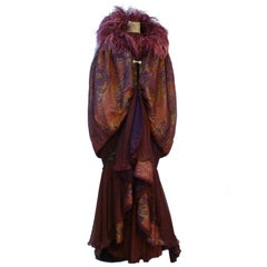Theatrical Deco-Style Couture Ostrich Trimmed Opera Cape