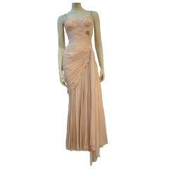 50s Structured Silk Chiffon Goddess Gown