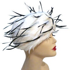Jack McConnell 1960s Whimsical Feather Turban Hat