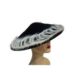 Exceptional 1950s Beaver Felt Cocktail Hat  w/ Egret  Feathers