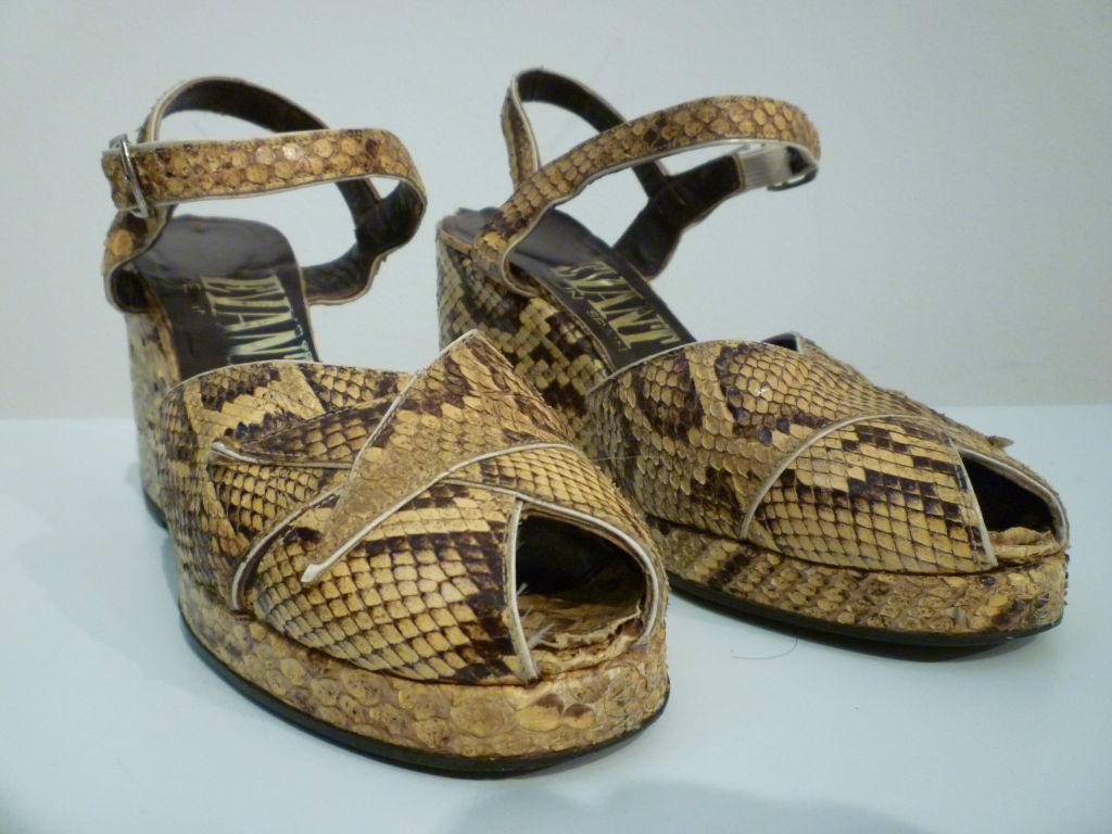 70s Platform Snakeskin Sandals In 40s Style At 1stdibs