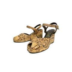 70s Platform Snakeskin Sandals in 40s Style