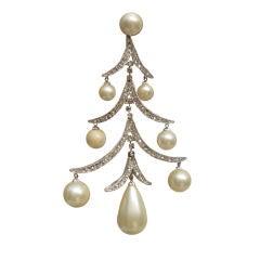 60s Marvella Chandelier Earrings in Rhinestones and Pearl Drops