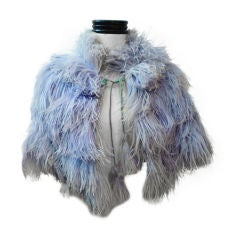 30s Ostrich Feather Capelet in Baby Blue
