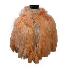 30s Apricot Ostrich Feather Capelet