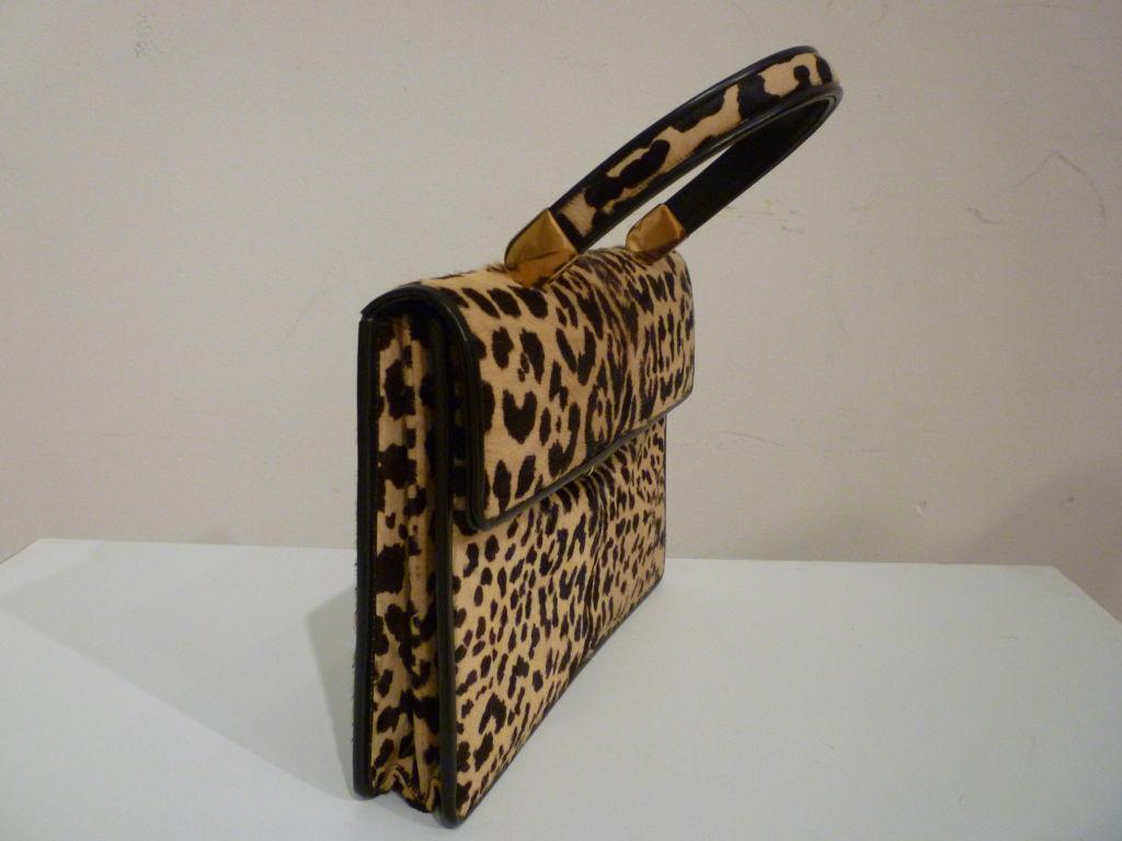 60s Leopard Stenciled Calf Hide  Handbag 2