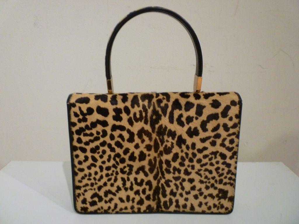 60s Leopard Stenciled Calf Hide  Handbag 3