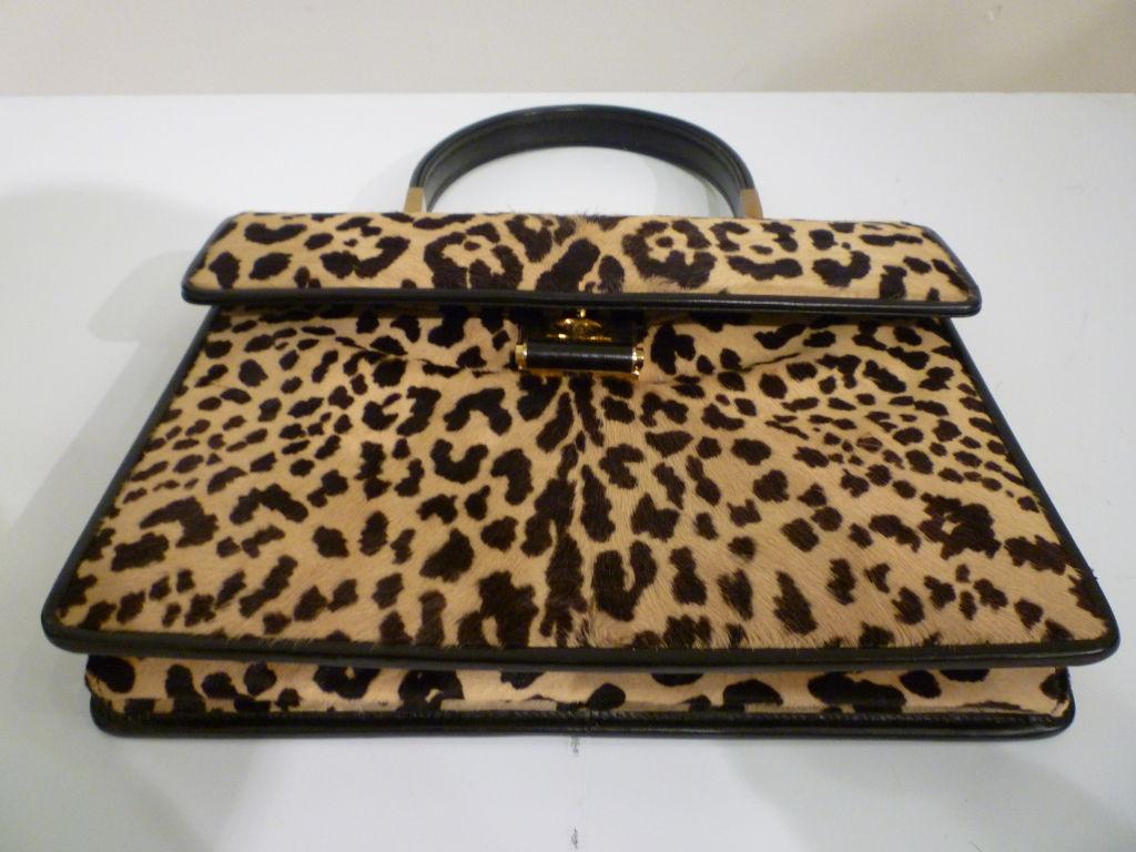 60s Leopard Stenciled Calf Hide  Handbag 4