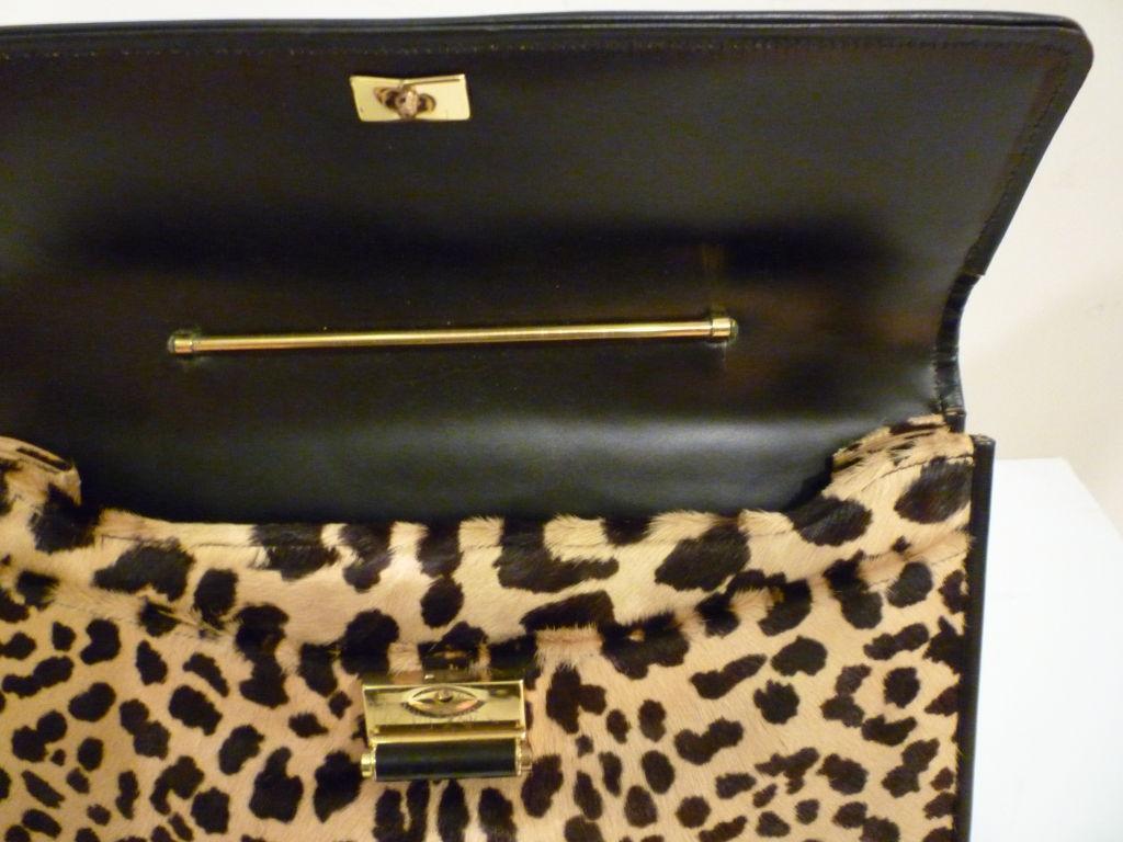 60s Leopard Stenciled Calf Hide  Handbag 5