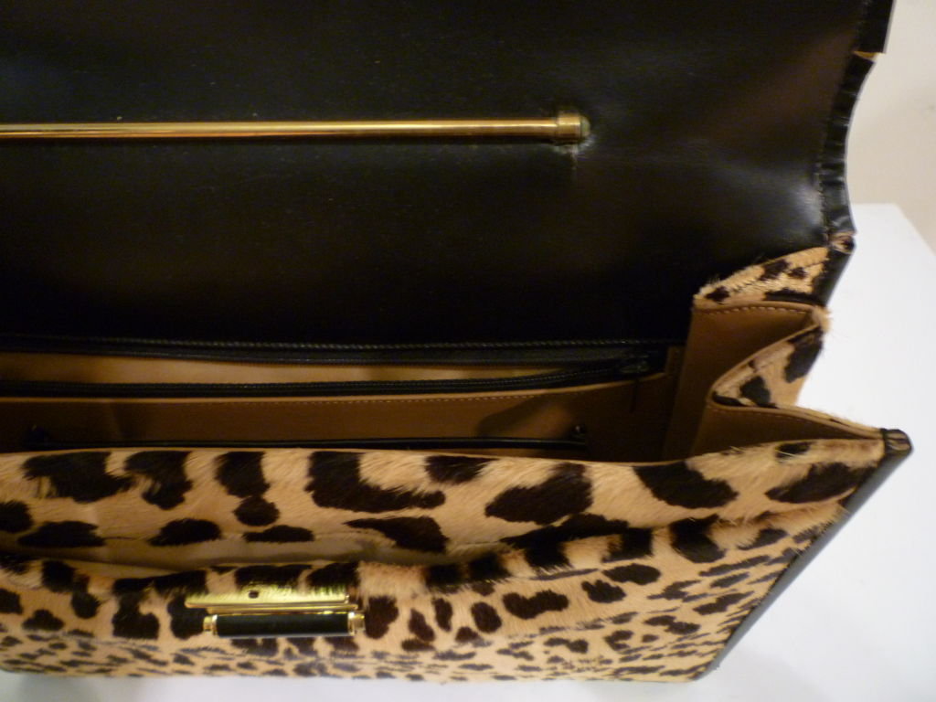 60s Leopard Stenciled Calf Hide  Handbag 6