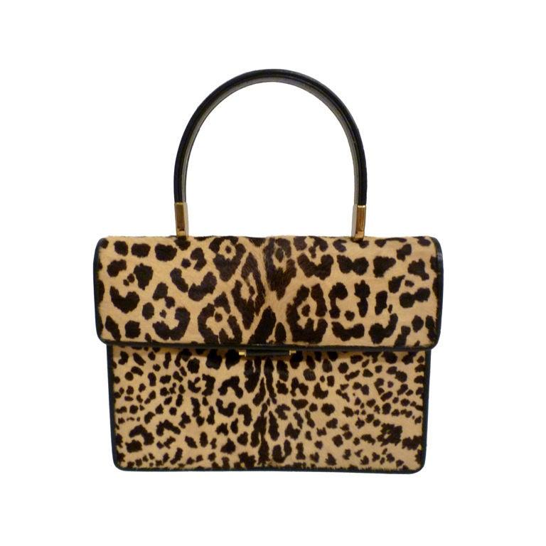 60s Leopard Stenciled Calf Hide  Handbag 1