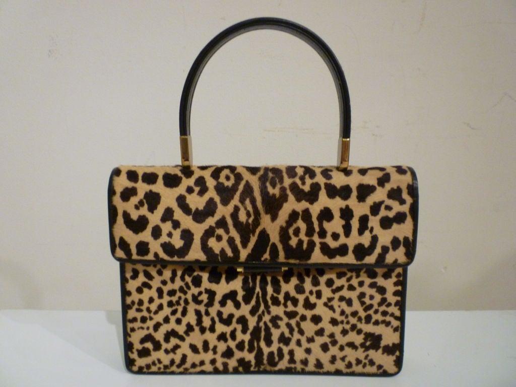 60s Leopard Stenciled Calf Hide  Handbag 7