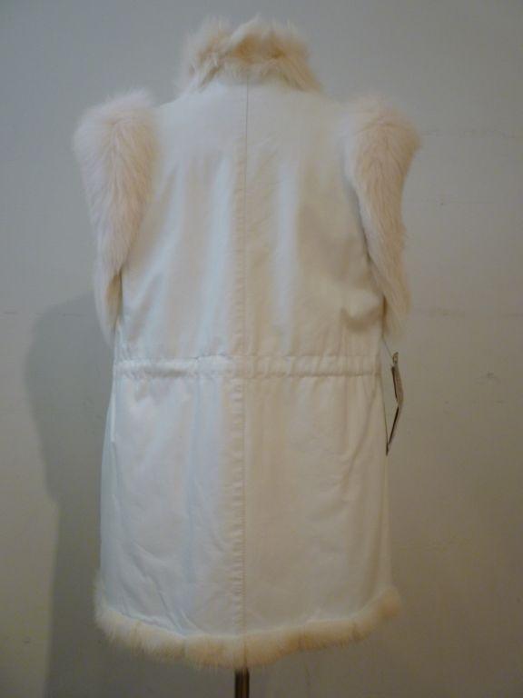 Oscar De la Renta Reversible White Mink Fox and Leather Vest For Sale 3