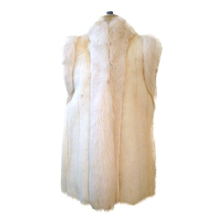 Oscar De la Renta Reversible White Mink Fox and Leather Vest For Sale