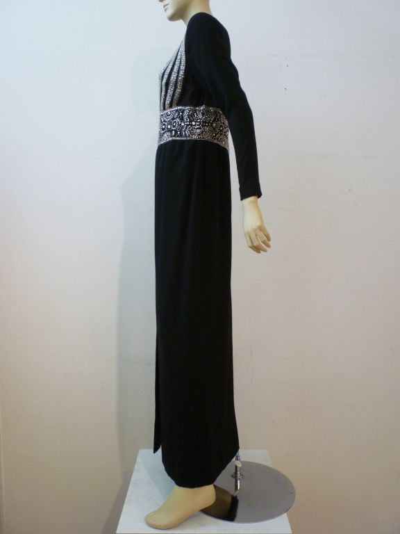 Black Pauline Trigere Art Deco Revival Gown w/ Rhinestones & Beading For Sale