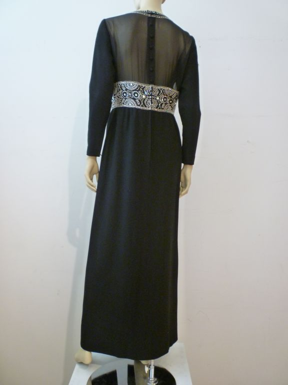 Women's Pauline Trigere Art Deco Revival Gown w/ Rhinestones & Beading For Sale
