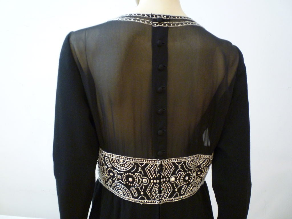 Pauline Trigere Art Deco Revival Gown w/ Rhinestones & Beading For Sale 1