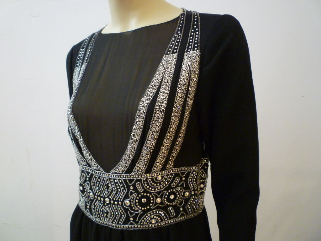 Pauline Trigere Art Deco Revival Gown w/ Rhinestones & Beading For Sale 2