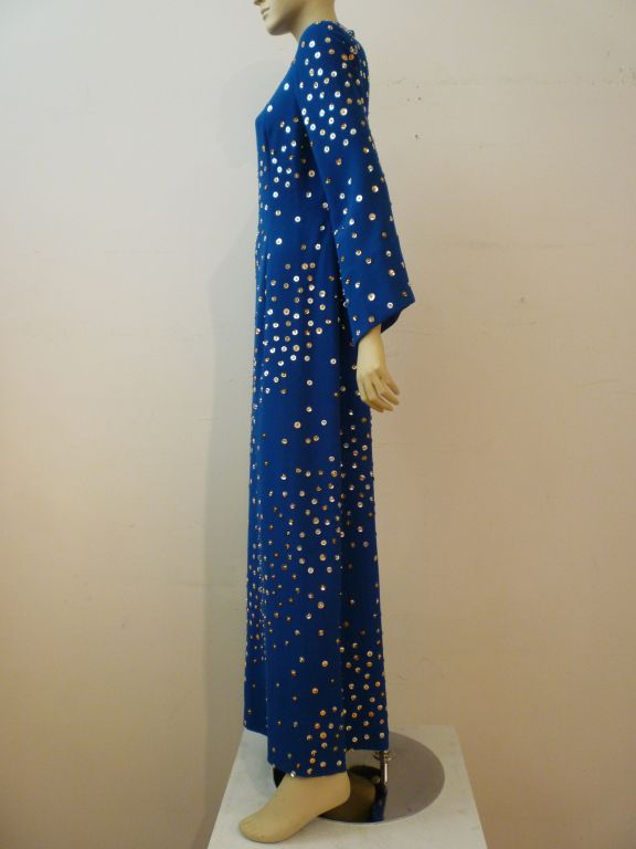 Women's Pauline Trigere Celestial Sequin Gown in Cobalt Blue For Sale