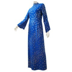 Pauline Trigere Celestial Sequin Gown in Cobalt Blue