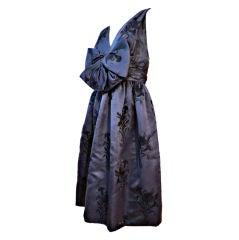 James Galanos Indigo Embroidered 60s Silk Party Dress
