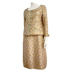 Christian Dior Boutique 60s Numbered Brocade Dress Suit