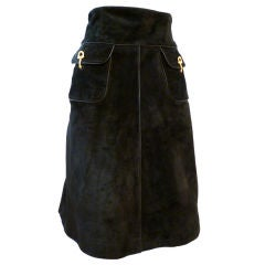 Gucci Genuine 70s Black Suede Skirt with Piping & Metal Toggle