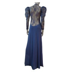 Loris Azzaro 70s Lace and Crepe Gown with Extremely Low Back