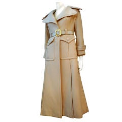 Galanos 70s Trench Style Maxi Coat in Cream Wool