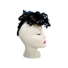 40s Black Feather Tilt Cocktail Hat