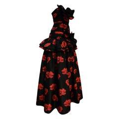 Nina Ricci 70s Floral Silk Strapless Gown w/ Gorgeous Ruffles