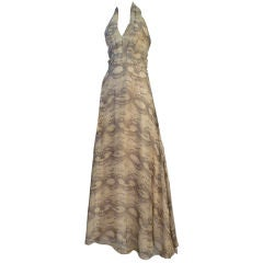 70s Snake Print Chiffon Halter Gown