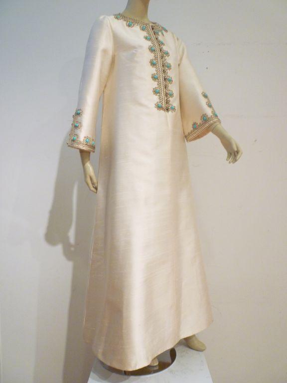 I. Magnin 60s Silk Embroidered Caftan 2