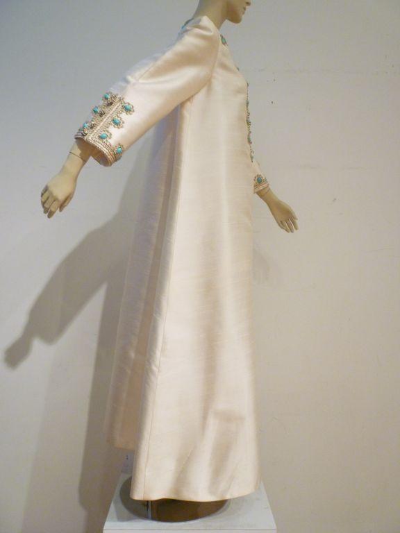 I. Magnin 60s Silk Embroidered Caftan 3