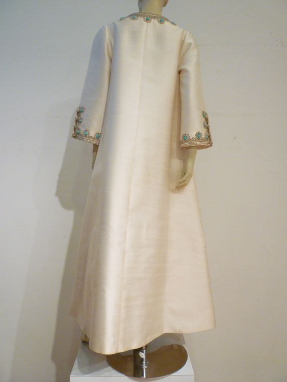 I. Magnin 60s Silk Embroidered Caftan For Sale 1