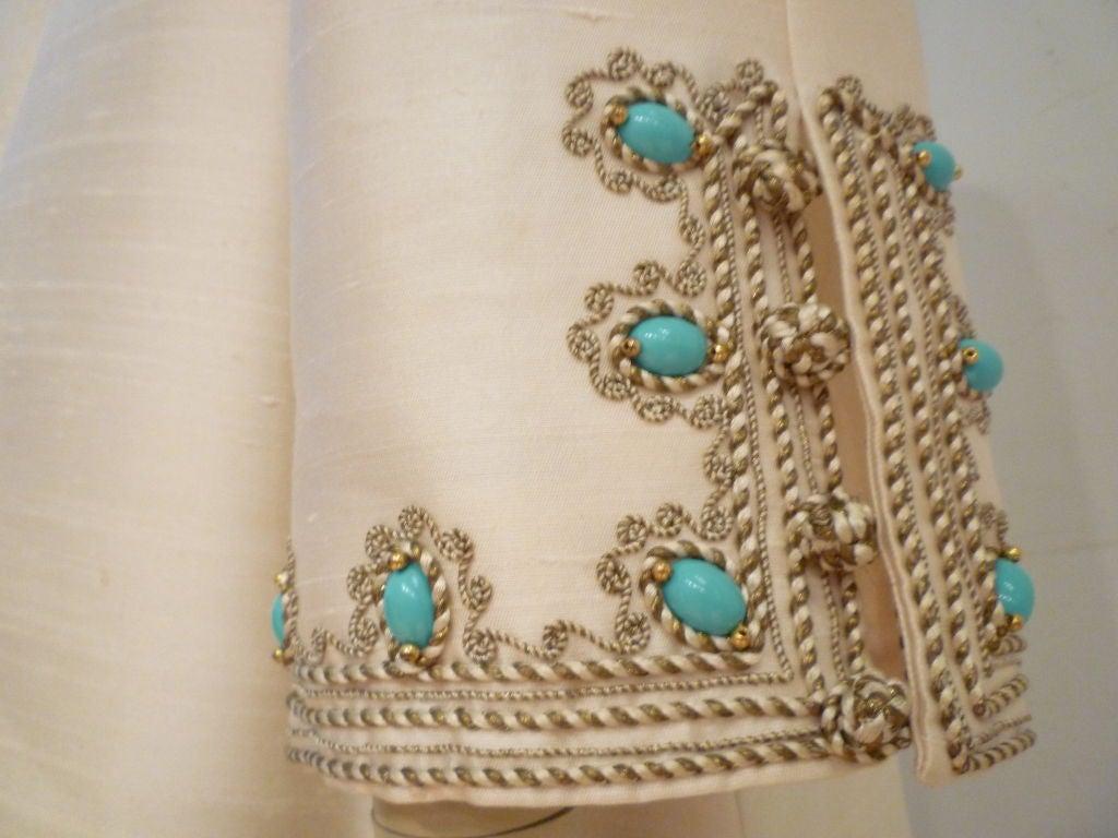I. Magnin 60s Silk Embroidered Caftan 5