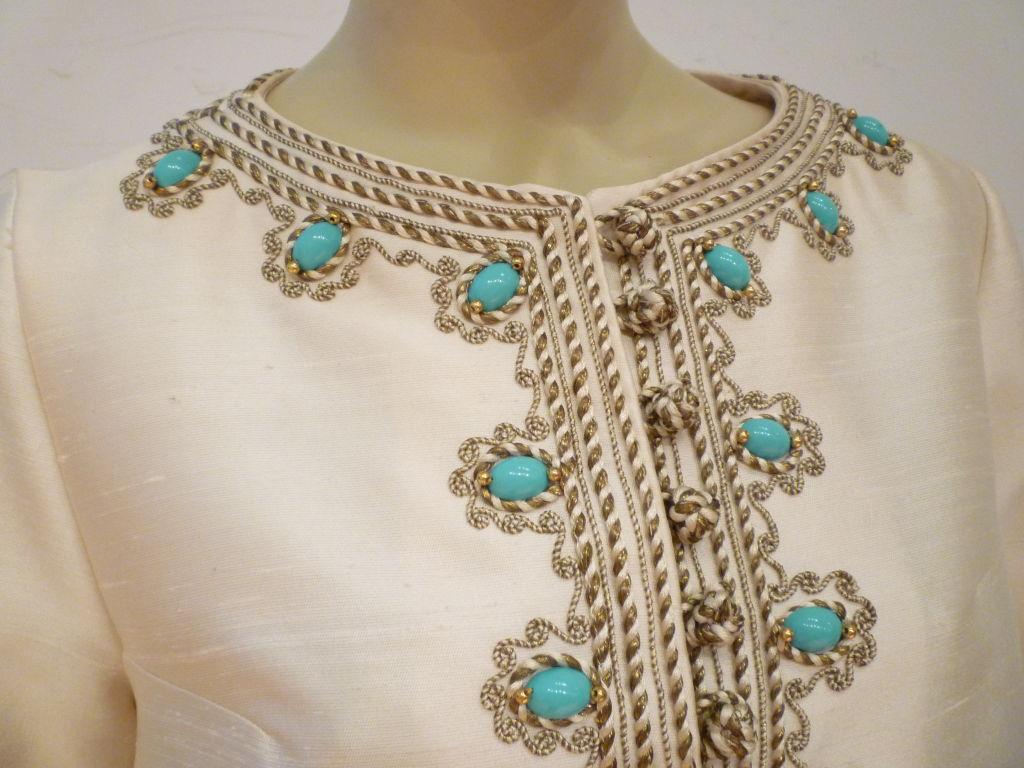 I. Magnin 60s Silk Embroidered Caftan 6