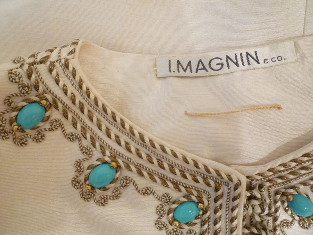 I. Magnin 60s Silk Embroidered Caftan 7