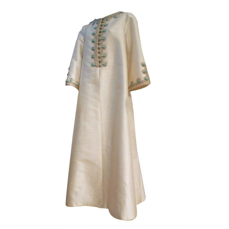 I. Magnin 60s Silk Embroidered Caftan 1