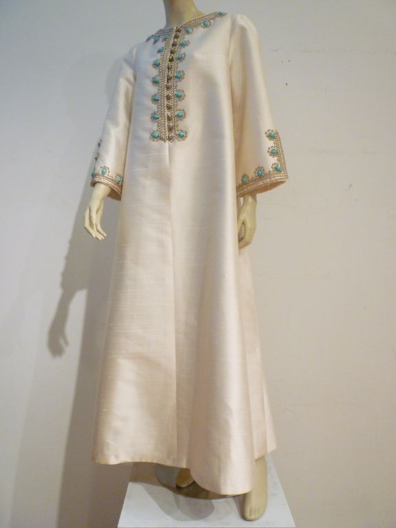 I. Magnin 60s Silk Embroidered Caftan For Sale 5