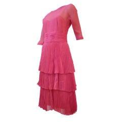 Worth 50s Shimmery Fuschia Cocktail Dress w/ Lavish Pleating