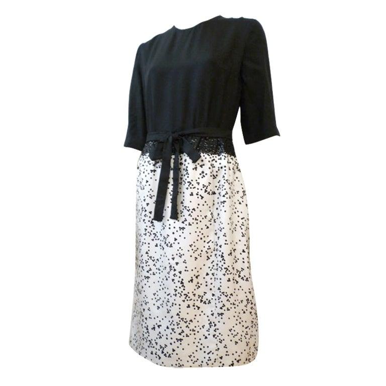 Norman Hartnell 1950s Silk Dress Suit w/ Sequin Embellishment