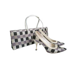 Fab 50s Stiletto and Handbag Set - Woven Raffia