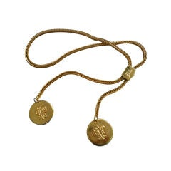 Pucci Gold-Tone Metal Chain Belt with Monogram Medalions - Signe