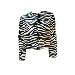 Bill Blass 70s Zebra Stenciled Calf Hide Jacket