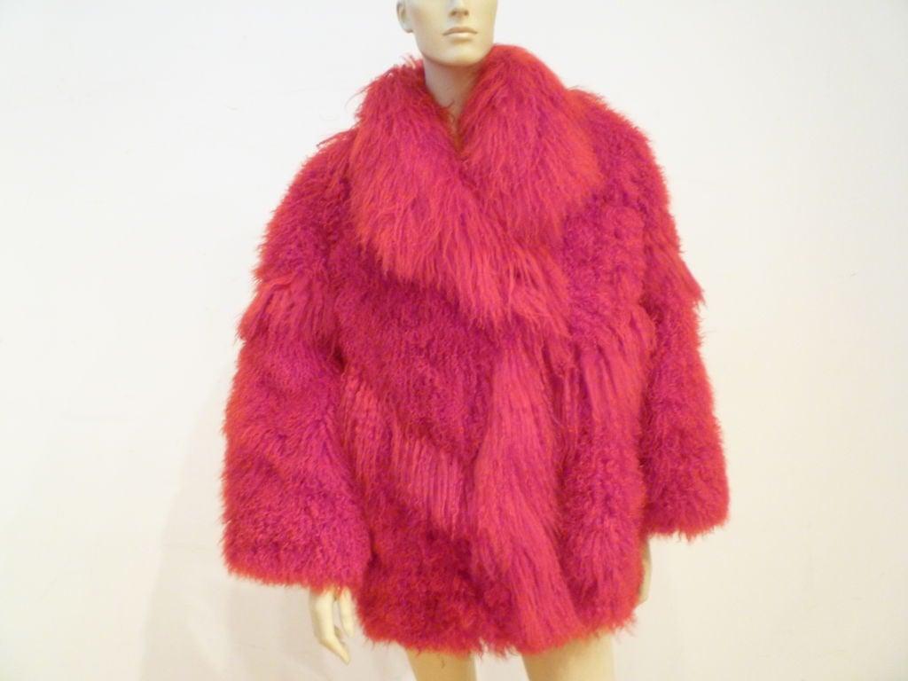 I. Magnin 80s Vibrant Red Mongolian Lamb Chubby Jacket 2