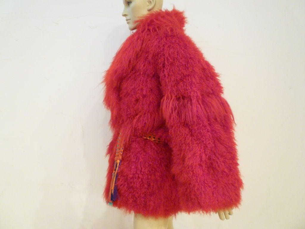 I. Magnin 80s Vibrant Red Mongolian Lamb Chubby Jacket 3